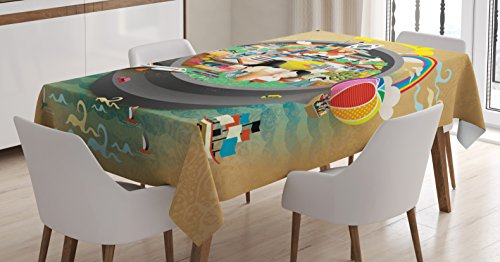 Ambesonne Korea Tablecloth, Traditional South Korean Motifs Inside a Khimchi Hot Pot Tourist Attractions Cartoon, Dining Room Kitchen Rectangular Table Cover, 52 W X 70 L inches, Beige Green ()