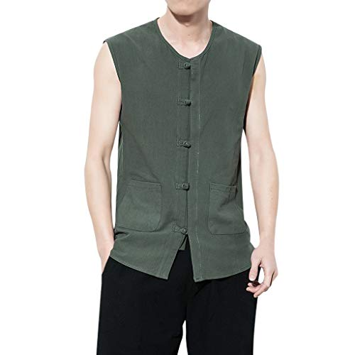 (MODOQO Men's Tee Shirts,Summer Casual Slim Cotton Linen Button Down Sleeveless Tops(Army Green,CN-M/US-XS))
