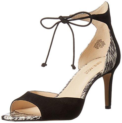 Sandalo In Pelle Scamosciata Delle Donne Del West Delle Nove West Nero / Bianco Sporco