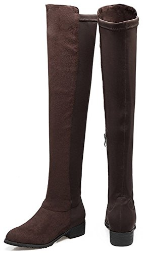 IDIFU Womens Comfy Low Chunky Heel Round Toe Faux Suede Over Knee High Boots With Side Zipper Dark Brown YGTcclbE