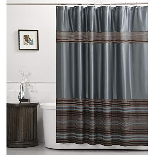 blue and brown shower curtain - 2