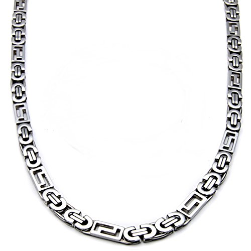 Polished Stampato Necklace - Mecoo America Fashion Style Jewelry Sets Link Byzantine and Stampato Chain Stainless Steel High Polished Necklace and Bracelet Sets for Men (Necklace( 22