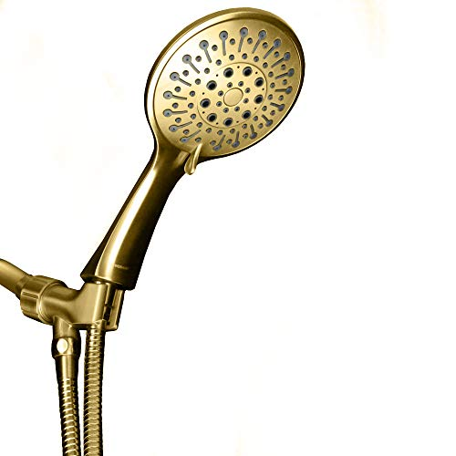 ShowerMaxx | Elite Series | 6 Spray Settings 5 inch Hand Held Shower Head | Extra Long Stainless Steel Hose | MAXX-imize Your Shower with Easy-to-Remove Flow Restrictor | Polished Brass/Gold Finish ()