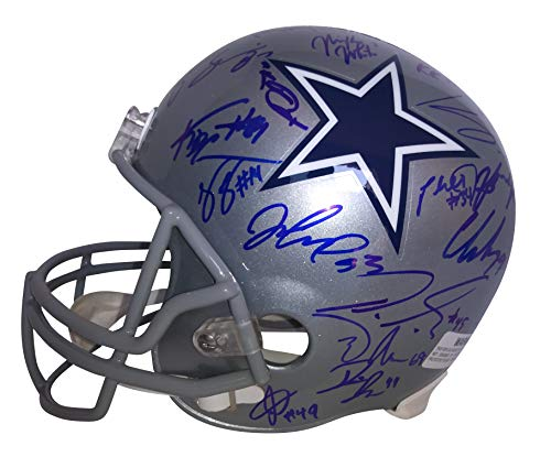 - 2018 Dallas Cowboys Team Autographed Hand Signed Riddell Full Size Football Helmet with 35 Signatures Total and Proof Photos of Signing and COA, Jason Garrett, Michael Gallup, Geoff Swaim
