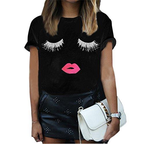 SZHEN Womens Cotton Tnaks Tops Cotton Short T Shirt Eyelash Summer Blouse