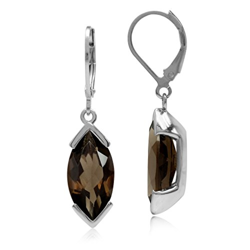 6.98ct 16x8MM Natural Marquise Smoky Quartz White Gold Plated 925 Sterling Silver Leverback Earrings ()