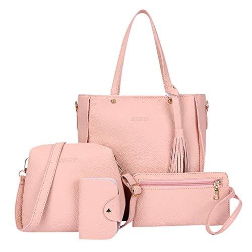 Mozziee Women Tassel Bag,Ladies Fashion bag 2019 New Fashion Four-Piece Shoulder Bag Messenger Bag Wallet Handbag