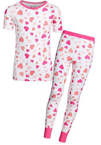 Heartstrings Girls 2-Piece Snug Fit Summer Pajama Set, White Heart, Size 4T'