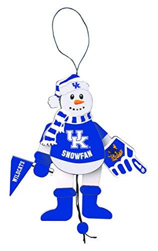 Kentucky Snowman Wildcats (NCAA Kentucky Wildcats Wooden Cheering Snowman Ornament)