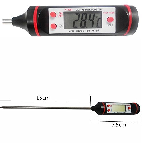 Chef Rimer Meat Thermometer Long Very Fast Accurate Instant Read Temperature Digital Food Probe For Cooking Grill Camping BBQ Candy Yogurt Dairy Beer Bread Milk Liquid With Battery