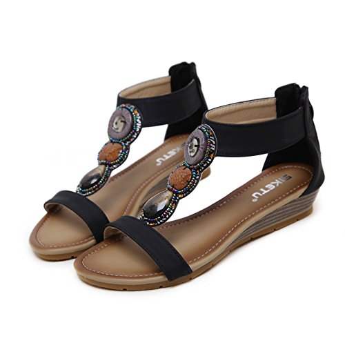 Zipper Beauty Black Women's D2C Bohemian Summer Sandals Back Flat Beads xqIxwf7