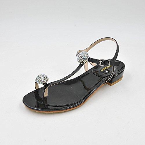 e il nero 38 testa basso di cuoio calzature fissaggio che a sandali donna dopo ed con spessore vernice rotonda elegante Estate pqvZgwn