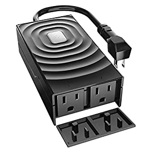 meross WiFi Smart Outdoor Plug with 2 Grounded Outlets, Plug-in Heavy Duty Outlet, Remote Control, Timer, Waterproof…