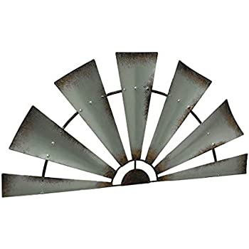 LL Home Metal Windmill Semi-Circle Wall Home Decor, One Size, Gray