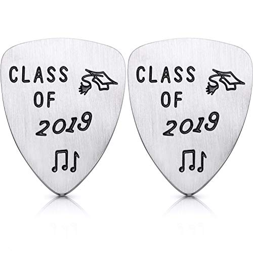 2 Pieces Class of 2019 Guitar Picks Graduation Gifts Stainless Steel Guitar Picks with 2 Pieces Gift Boxes for Boys and Girls