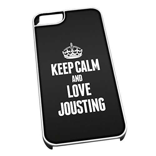 Bianco cover per iPhone 5/5S 1791nero Keep Calm and Love Jousting