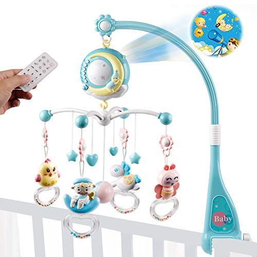 Baby Musical Crib Mobile with Projection Function and Night Light,Hanging Rotating Teether Rattle and 150 Melodies Music Box with Remote Control,Toy for Newborn 0-24 Months