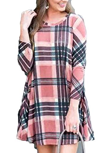 BOOSOULY Ladies Casual Striped Splice T-Shirt Mini Dress with Pockets Pink L
