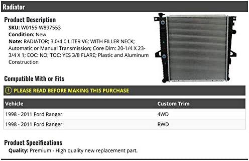 Compatible with 1998-2011 Ford Ranger 3.0L 4.0L V6 Radiator with Filler Neck and Transmission Oil Cooler
