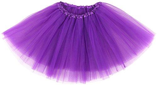 Simplicity Women's Classic Elastic 3 Layered Tulle Running Tutu Skirt, Purple]()