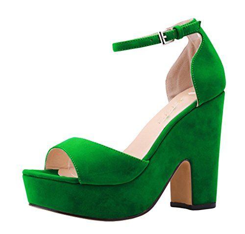 CAMSSOO Women's Solid Color Open toe Middle Heel Wedge Sandals Green Velveteen 10 US M