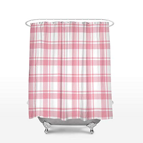 Geometric Shower Curtain Classic Buffalo Check Plaid Pink White Print Bathroom Decor Polyester Fabric Shower Curtains with Hooks 72x84inch