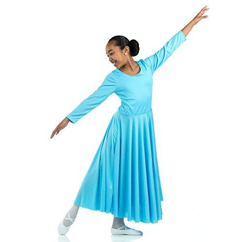 Danzcue Girls Praise Loose Fit Full Length Long Sleeve Dance Dress (12-14, Aqua Blue)