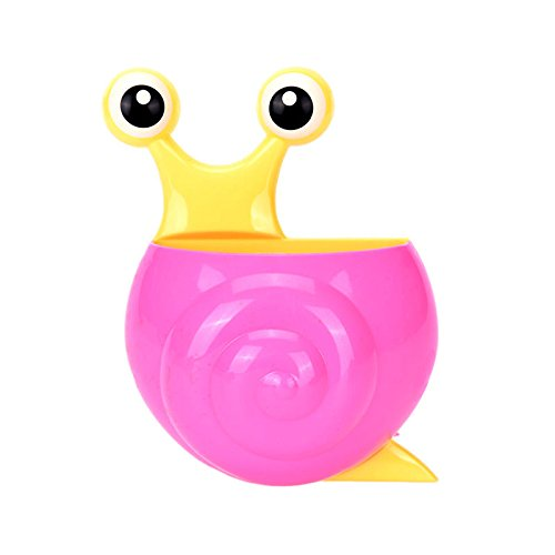 Price comparison product image Jiaying-US 1 pc Multifuntion Snail Style Kid Toothbrush Holdedr-Toothpaste Holder With Sucker in Bathroom-Pink