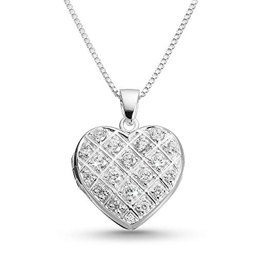 Things Remembered Personalized Pave Heart Locket with Engraving Included