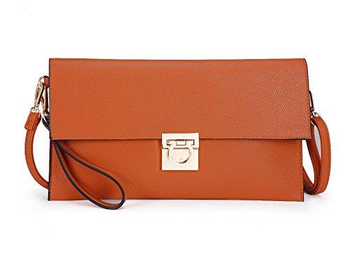 Brown Large YS046 Leather Bag Envelope Evening Tan Clutch Faux ZZga7xFqz
