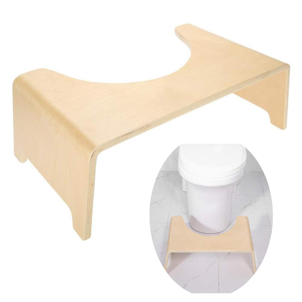 Squatty Step Stool, Bathroom Potty Squat Toilet Helper Assistant Wood Footseat Massage Relaxation by HB Toilet Stool