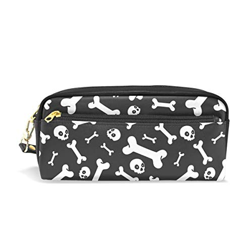 Top Carpenter Pencil Case Pouch Bag Skull Bone Halloween Pattern for Makeup Office Student 1.7x0.75x0.5in -