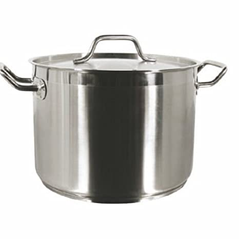 1 X New Professional Commercial Grade 8 QT (Quart) Heavy-Gauge Stainless Steel Stock Pot, 3-Ply Clad Base, Induction Ready, With Lid Cover NSF ...