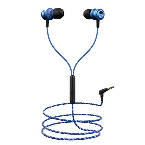 boAt BassHeads 152 with HD Sound, in-line mic, Dual Tone Secure Braided Cable & 3.5mm Angled Jack Wired Earphones (Jazzy Blue)