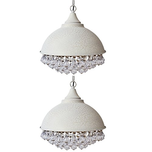 Industrial Retro Crystal Chandelier, Motent 13 inches Dia Vintage White Dome Shaped Vintage Glittering Crystal Ceiling Light Iron Wrought Pendant Light Shade Set for Boutique Shop Loft Café - 2 Pack -