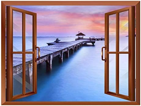 Calm Wood Pier at Sunset View from Inside a Window Removable Wall Sticker/Wall Mural - 24