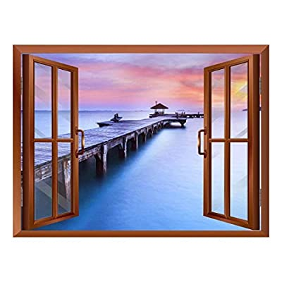 Classic Design, Wonderful Work of Art, Calm Wood Pier at Sunset View from Inside a Window Removable Wall Sticker Wall Mural