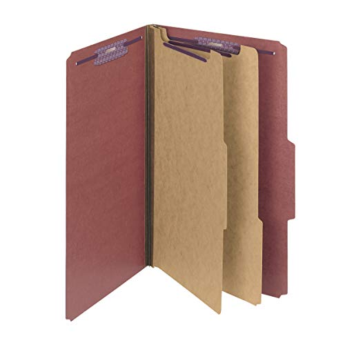 "Smead Pressboard Classification File Folder with SafeSHIELD Fasteners, 2 Dividers, 2"" Expansion, Legal Size, Red, 10 per Box (19075)"