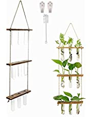 Wall Hanging Planter Terrarium with Wooden Stand,Gewaha Hydroponic Plants,3 Tier 9pcs Mini Test Tubes Flower Vase Hanging Glass Planter Propagator for Home Office Living Room Decoration