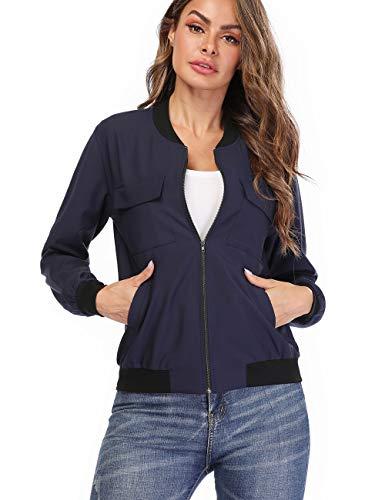 MISS MOLY Women's Zip Up Bomber Jackets Long Sleeve Casual Lightweight Biker Coat Blue L ()