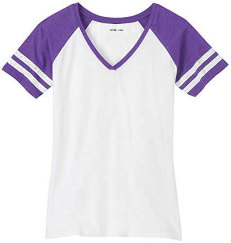 (Joe's USA Ladies Distressed Retro V-Neck T-Shirt-Purple-L)