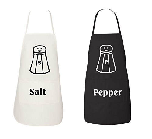 cd7eb0f49 FASCIINO Set of Salt and Pepper Shaker His and Hers Chef Couples Apron  Valentines Wedding Bridal Gift 2pcs
