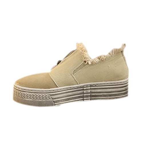 Clode® Womens Ladies Canvas Chunky Sole Round Toe Loafers Lace up Flat Trainers Sneakers Work School Shoes Beige lisTFx