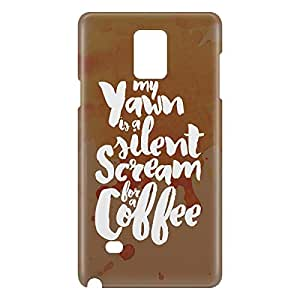 Loud Universe Samsung Galaxy Note 4 3D Wrap Around Scream For Coffee Print Cover - Brown