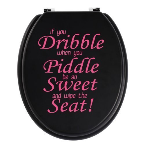 Toilet Seat Bathroom Quote / Words Wall Art Decal Sticker If You Dribble 17 Colours Available (Pink)