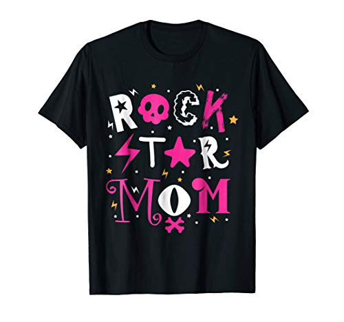 Rockstar MOM Birthday Party Theme Shirt Outfit Gift -