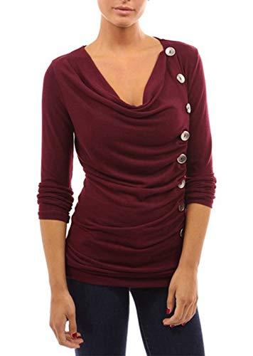 Tops Printemps Shirts Automne Slim Tees Monika Casual T Vin Blouse Longues Femmes Jumpers Bouton Personnalit et Rouge Hauts Manches 4qYpv1