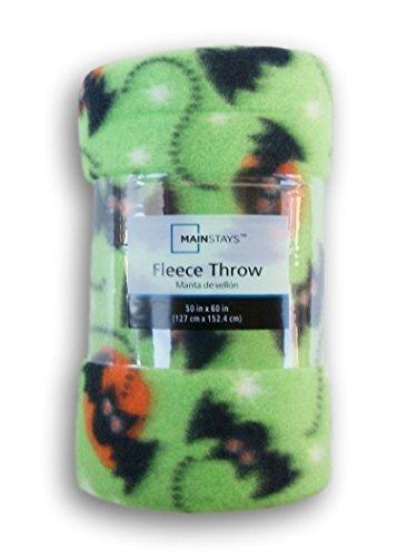 Green Bat Patterned Fleece Throw Blanket - 50in