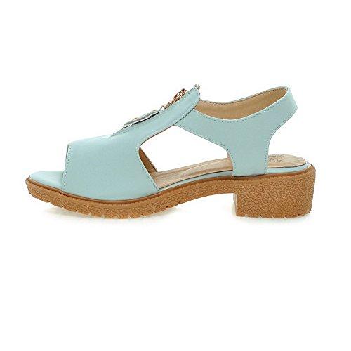 VogueZone009 Mujeres Peep Mini Tacón Cremallera Sólido Sandalias de vestir Azul