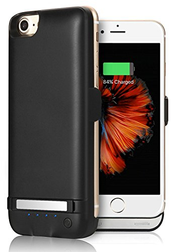 iPhone 8 / 7 / 6S / 6 Battery Case, YISHDA 4.7-Inch 5800mAh Rechargeable Extended Battery Charging Case for iPhone 8 / 7 / 6S / 6 External Battery Charger Case Backup Power Bank Case [4.7 inch] – Black